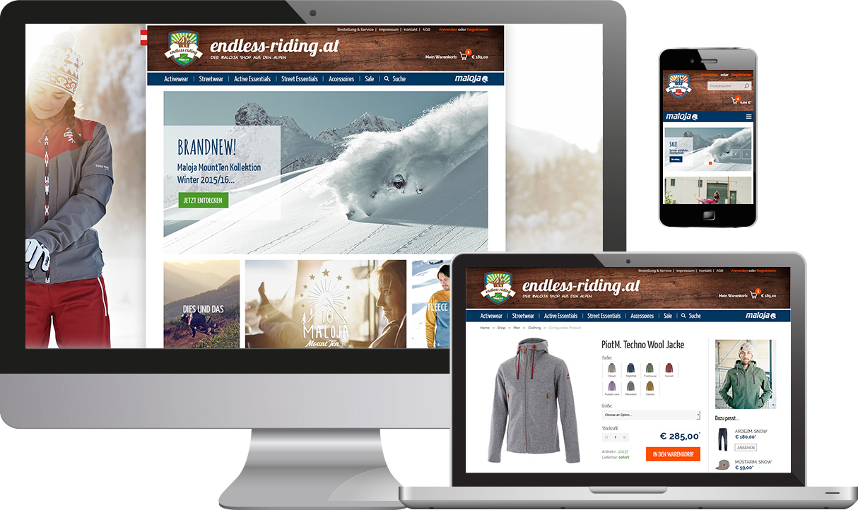 Responsive Online Shop Endless Riding Maloja