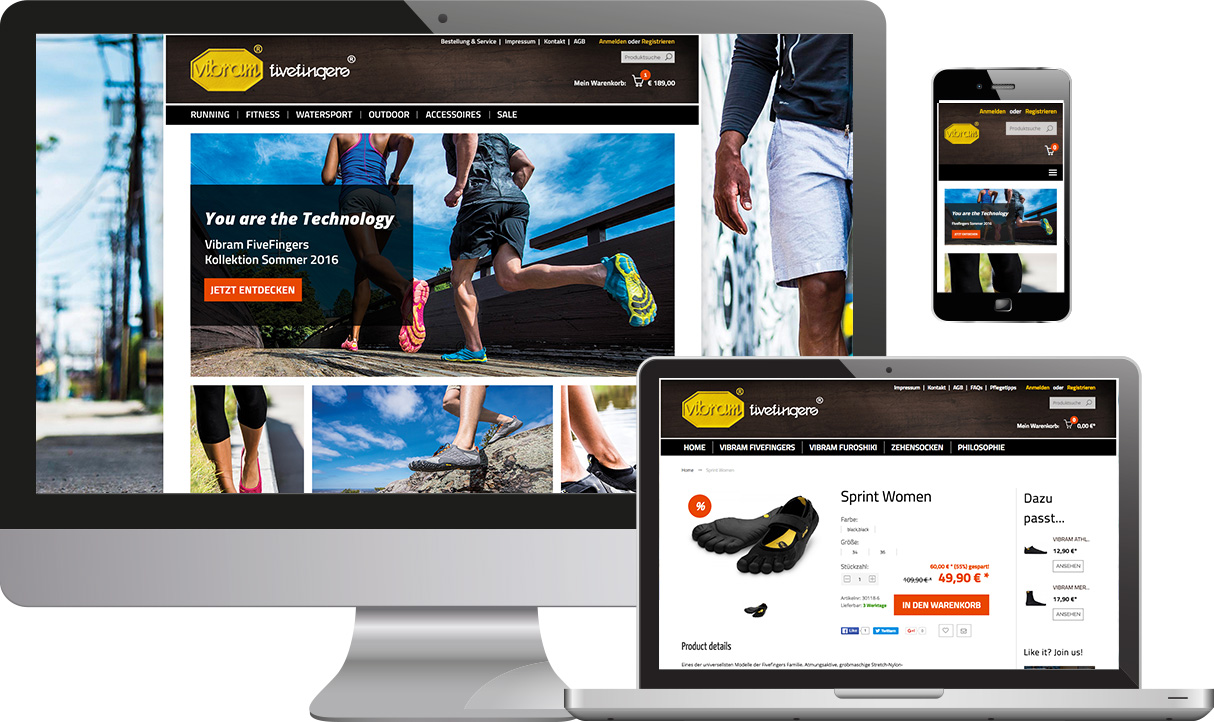 Responsive Online Shop Vibram Five Fingers